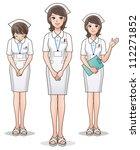 Set Of Young Cute Nurse...