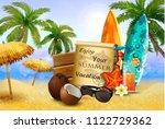 wooden board on tropical...   Shutterstock .eps vector #1122729362