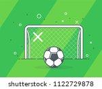 soccer ball   football gate.... | Shutterstock .eps vector #1122729878
