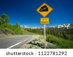 yellow sign warning drivers of... | Shutterstock . vector #1122781292