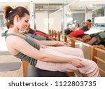 girl doing exercise on the... | Shutterstock . vector #1122803735
