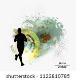 fit young male jogger. healthy... | Shutterstock .eps vector #1122810785