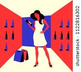 wine shopping. woman in a wine...   Shutterstock .eps vector #1122816302