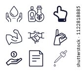 set of 9 hand outline icons... | Shutterstock .eps vector #1122818885
