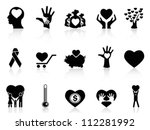 Black Charity And Donation Icons