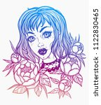 hand drawn beautiful girl with... | Shutterstock .eps vector #1122830465