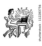 woman typing madly   retro... | Shutterstock .eps vector #112283756
