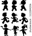 nine children black silhouettes.... | Shutterstock .eps vector #112284206