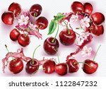 cherry into of burst splashes... | Shutterstock .eps vector #1122847232