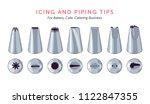set of 7 metallic icing nozzles.... | Shutterstock .eps vector #1122847355