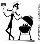 mustache comic cook isolated... | Shutterstock . vector #1122863438