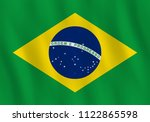 brazil flag with waving effect  ... | Shutterstock .eps vector #1122865598