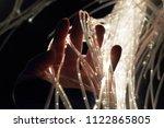 white fiber optic cables...   Shutterstock . vector #1122865805