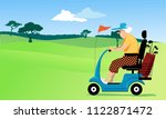 elderly person driving a... | Shutterstock .eps vector #1122871472