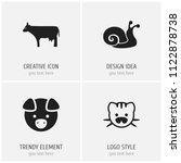 set of 4 editable animal icons. ...
