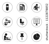 set of 9 editable office icons. ...