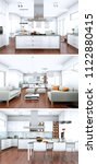 three views of modern interior... | Shutterstock . vector #1122880415
