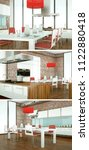 three views of modern interior... | Shutterstock . vector #1122880418