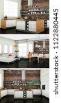 three views of modern interior... | Shutterstock . vector #1122880445