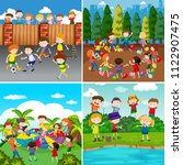 a set of kids and activity... | Shutterstock .eps vector #1122907475