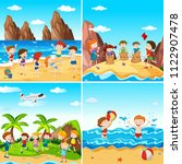 a set of children at the beach... | Shutterstock .eps vector #1122907478