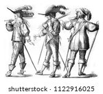 officer and musketeer on foot... | Shutterstock . vector #1122916025