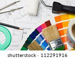 paints and paint repair on the... | Shutterstock . vector #112291916