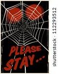 creepy spider's web background   Shutterstock .eps vector #112293512