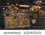 treasure map  compass and... | Shutterstock . vector #1122937622