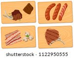 variety of meat on chopping... | Shutterstock .eps vector #1122950555