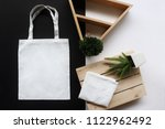 white fabric tote bag for save... | Shutterstock . vector #1122962492