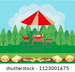 barbecue party invitation card | Shutterstock . vector #1123001675