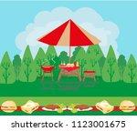 barbecue party invitation card   Shutterstock . vector #1123001675