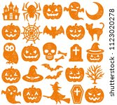 set of halloween icons. stamp... | Shutterstock .eps vector #1123020278