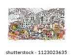 cinque terre is a string of... | Shutterstock .eps vector #1123023635