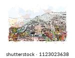 cinque terre is a string of... | Shutterstock .eps vector #1123023638