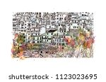 cinque terre is a string of... | Shutterstock .eps vector #1123023695