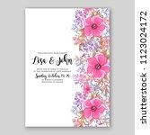 floral wedding invitation... | Shutterstock .eps vector #1123024172