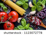 tomatoes basil garlic and... | Shutterstock . vector #1123072778