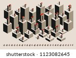 isometric alphabet with shadows ... | Shutterstock .eps vector #1123082645