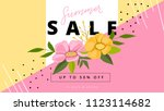 sammer sale banner with flowers ... | Shutterstock .eps vector #1123114682