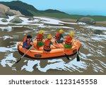 rafting adventure team | Shutterstock .eps vector #1123145558