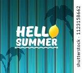 vector hello summer beach party ... | Shutterstock .eps vector #1123158662