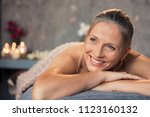 closeup of a blonde woman in a... | Shutterstock . vector #1123160132