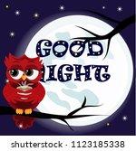 cute cartoon owl coquettish red ... | Shutterstock .eps vector #1123185338