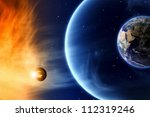 Abstract scientific background - save planet Earth. Elements of this image furnished by NASA. - stock photo