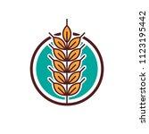 wheat logo icon emblem design.... | Shutterstock .eps vector #1123195442