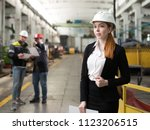 young engineer girl in a modern ... | Shutterstock . vector #1123206515