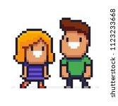 pixel art couple  two smiling... | Shutterstock .eps vector #1123233668