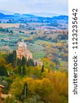 tuscany landscape with wave... | Shutterstock . vector #1123235642